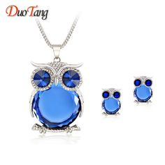 DuoTang Trendy Owl Jewelry Sets Fashion Rhinestone Crystal Jewelry Statement Women Gold Silver Chain Necklace And Earrings