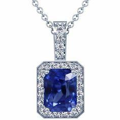 Platinum Emerald Cut Blue Sapphire And Round Diamond Pendant GemsNY. $6706.00. Save 50%!