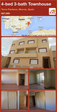 Townhouse for Sale in Torre Pacheco, Murcia, Spain with 4 bedrooms, 3 bathrooms - A Spanish Life Murcia Spain, Number 3, Townhouse, Terrace, Lounge, Bathroom, Bed, Life, Home Decor