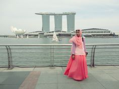 My Marina Bay Sands Singapore #fashion #long #skirt #Hijaab #headscarf #colorful #Girl #Asian #Muslim #Indonesian