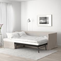 This sofa bed has soft back cushions and a resilient seat with elastic foam that allows you to both sit and sleep comfortably. At bedtime, it quickly converts from sofa to comfy bed. Sectional Covers, Sleeper Sectional, Corner Sectional, Sofa Bar, Corner Sofa Covers, Cama Ikea, Ikea Daybed, Ikea Bed, Living Room Ideas