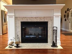 Cream Herringbone Stone Mosaic Fireplace Surround and Hearth - Subway Tile Outlet Mosaic Tile Fireplace, Herringbone Fireplace, Fireplace Tile Surround, Fireplace Hearth, Fireplace Surrounds, Fireplace Design, Fireplace Ideas, Herringbone Tile, Fireplace Backsplash