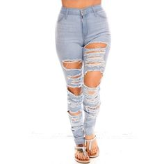 light blue distressed stretchy causal jeans ($32) ❤ liked on Polyvore featuring jeans, bottoms, pants, legs, lightblue, high rise jeans, white ripped jeans, white destroyed jeans, white distressed jeans and high waisted jeans