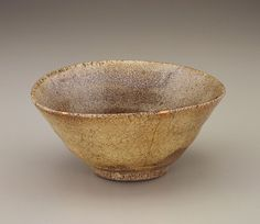 Tea bowl, possibly Karatsu ware early 17th century Edo period Stoneware clay with ash glaze; gold lacquer repairs H: 5.8 W: 18.0 D: 18.0 cm Matsue, Japan