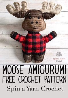 Free Crochet Pattern from Spin a Yarn Crochet toys patterns diy free crochet Moose Amigurumi Free Crochet Pattern Kawaii Crochet, Cute Crochet, Crochet For Kids, Crochet Crafts, Crochet Projects, Crochet Ideas, Diy Crochet Animals, Crochet Sloth, Quick Crochet