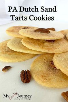 My mother's favorite Christmas cookies. The egg white wash and the cinnamon sugar topping with the pecans is the orginal way to make Sand Tarts. Amish Recipes, Dutch Recipes, Tart Recipes, Dessert Recipes, Cooking Recipes, Coconut Hot Chocolate, Chocolate Recipes, Holiday Cookie Recipes, Holiday Cookies