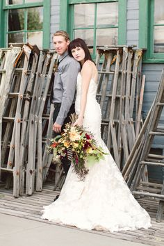 eclectic bride and groom look
