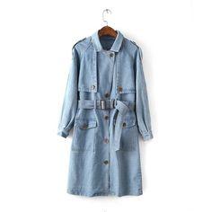 Pas cher Nouveau 2015 Style britannique Denim trench Coat pour femmes  ceinture Jean Long manteau solide 5e2c95399662