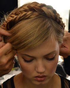 Rebecca Minkoff Spring 2014 / fishtail braid crown with a deep side part