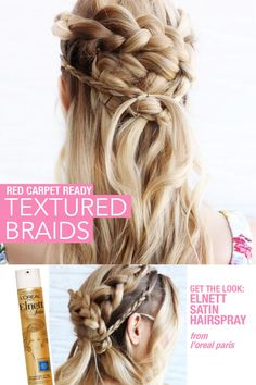 Television-inspired braids are our favorite hairstyles to re-create! Lock in these textured braids for the perfect red carpet look with Elnett Satin Hairspray from L'Oréal Paris.