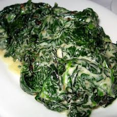 Creamed Kale by Bobby Flay- Great side dish! I added frozen spinach too (drained) and parmesan cheese at the end.
