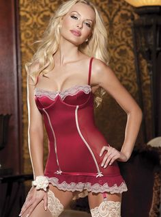 Stretch Satin Scallop Lace Chemise