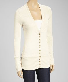 Look what I found on #zulily! Zenana Beige Stud-Button Cardigan by Zenana #zulilyfinds