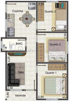 planta de casa com até 50 m2 e 3 quartos House Layout Plans, Small House Plans, House Layouts, House Floor Plans, Home Design Plans, Plan Design, House Plans 3 Bedroom, Small House Design, Architecture Plan