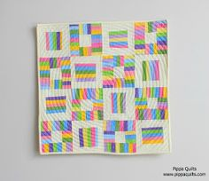 Moda Bake Shop: Spring Rainbows Quilt. Fun with scraps and the quilting makes it more interesting.