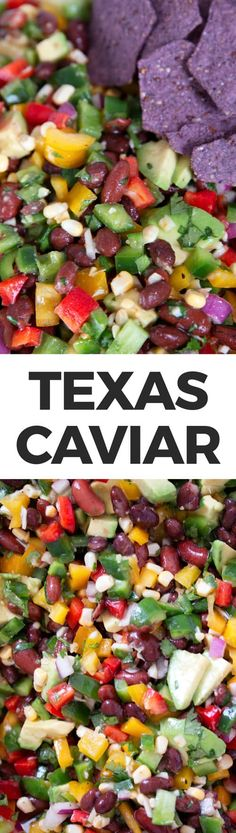 Texas caviar is an easy-to-make appetizer or side dish. This no-cook dip can be made in 10 minutes and is full of vegetables! Texas Caviar Recipe, Caviar Recipes, Cheese Appetizers, Appetizer Recipes, Dinner Recipes, Easy To Make Appetizers, Appetizers For Party, Healthy Breakfast Menu, Healthy Snacks