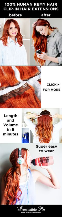 Get long hair in less than 5 minutes with Irresistible Me 100% human Remy clip-in hair extensions. The before and after change is totally awesome and nobody will know you're wearing hair extensions. Can be cut, dyed and heat styled. Worldwide delivery, free exchanges and returns. Sign up and get 20% off your first order and other exclusive discounts!