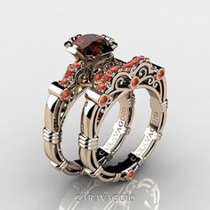 Art Masters Caravaggio 14K Rose Gold 1.0 Ct Brown Diamond Orange Sapphire Engagement Ring Wedding Band Set R623S-14KRGOSBRD