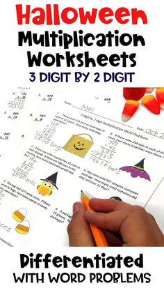 Halloween math is fun for kids with these printable 3 digit by 2 digit Multiplication Worksheets for 3rd, 4th,  or 5th grade school students. Teachers can easily set up centers, stations, or activities with these common core worksheets. Answer keys are provided for easy grading and the 4th page includes word problems.