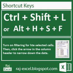 Raj Excel: Microsoft Excel 2013 Short Cut Keys: Ctrl + Shift ...
