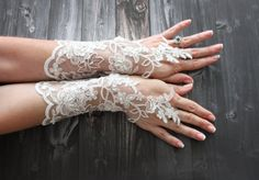 Long bridal gloves, white wedding fingerless gloves, lace barefoot sandals, alencon lace gauntlet, french lace wedding accessories  WHOLESALE AVAILABLE