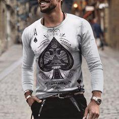 BrosWear Ace of Spades Poker Print Long Sleeve T-Shirt Mens Fall, Winter Trends, Men Street, Casual Street Style, Straight Leg Pants, Mens Fashion, Fashion Shirts, Long Sleeve Shirts, Mens Tops