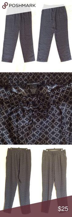 "ZAC & RACHEL Drawstring Geometric Print Pants L Zac & Rachel slim leg  drawstring pants feature a geometric print and side pockets. Loose fit. Color: black/white. Perfect pant for travel. 30.5"" inseam. 100% Polyester. Machine wash. Like new! Size L. ZAC & RACHEL Pants Track Pants & Joggers"
