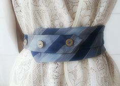SALE Grandpas vintage necktie belt // blue by beasTees on Etsy. , via Etsy. Old Neck Ties, Old Ties, Tie Knot Styles, Crochet Gloves Pattern, Tie Crafts, Obi Belt, Diane Keaton, Marlene Dietrich, Hand Embroidery Designs