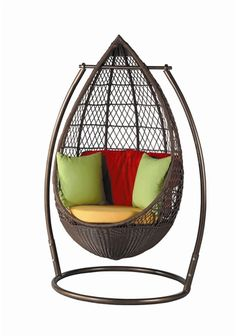 Swinging and Hanging Chair Pictures Egg Swing Chair, Hanging Swing Chair, Hammock Chair, Swinging Chair, Hanging Chairs, Swing Chairs, Chair Cushions, Funky Furniture, Wicker Furniture