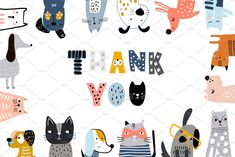 Cats&Dogs graphic collection by solmariart on Cute Wallpaper Backgrounds, Cute Wallpapers, Cool Patterns, Print Patterns, Cat Background, Alphabet Design, Dog Cards, Cute Cats And Dogs, Baby Shower Cards