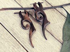 wood curved earrings Wood earrings tribal earrings by CarmelaRosa