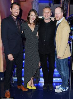 Old friends: The screening was a reunion of sorts for Anthony Stewart Head, co-star and director Alexis  Denisof, Amy Acker and Joss Whedon at the London Screening of Much Ado about Nothing