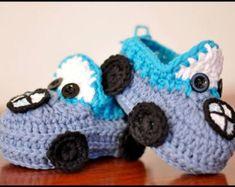 Вязание крючком пинетки автомобиля BMW мальчик - BMW пинетки вязаные пинетки