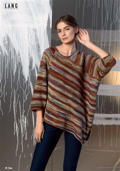 Fatto a Mano #243 Urban Spring/Summer 2017, Fashionable Casual patterns for men and women. Knitted Poncho, Poncho Sweater, Yarn Projects, Knitting Projects, Hand Knitting, Knitting Patterns, Lang Yarns, Cardigans, Knit Or Crochet