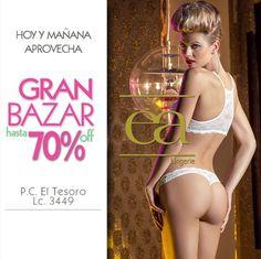 Hoy y hasta mañana, Bazar Medellín. Calle 6 No. 50-21 Cerca a Coltabaco Horario: 8:00 am a 6:00 pm. Hasta el 70% Off.