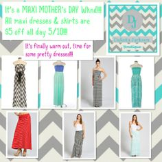 MAXI MOTHER'S DAY Sale on DAKOTA JACKSON BOUTIQUE's Facebook page today 5/10...Don't miss the awesome deals!! LIKE us on Facebook.  Please REPIN to share! Thanks!