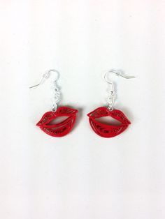 Items similar to Kiss Lips Paper Quilled Earrings - paper quilling earrings, paper quilled jewelry, paper quilled kisses, kiss earrings, red lips earrings on Etsy Paper Quilling Earrings, Paper Quilling Patterns, Quilled Paper Art, Quilling Paper Craft, Quilling Craft, Quilling Designs, Quiling Earings, Paper Crafts, Paper Jewelry