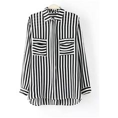 Yoins Yoins Black and White Stripe Shirt (925 MKD) ❤ liked on Polyvore featuring black and shirts & tops