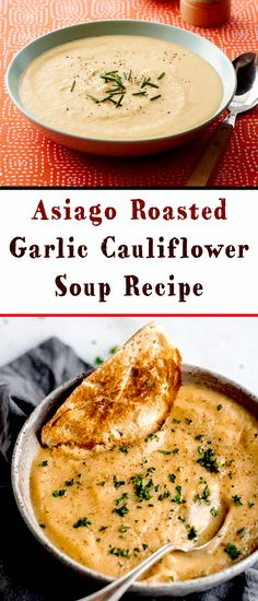 Asiago Roasted Garlic Cauliflower Soup Recipe - Creamy garlic cauliflower soup with lots of asiago cheese and crispy quinoa topping and chia seed t - Cauliflower Soup Recipes, Roasted Garlic Cauliflower, Garlic Soup, Healthy Soup Recipes, Cooking Recipes, Kid Recipes, Healthy Eats, Quinoa Soup, Lentil Soup