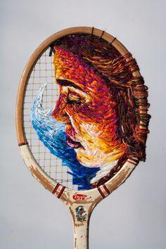 An old tennis racket becomes a piece of art