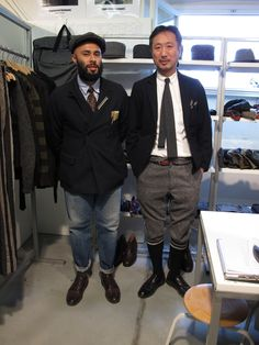 The men behind Engineered Garments. Now that is how you wear a double breasted blazer casually! DB Blazer and washed denim.
