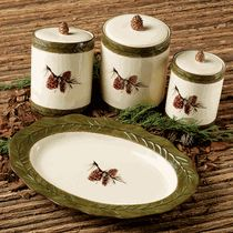 Pinecone Stoneware Canister Set and Serving Platter