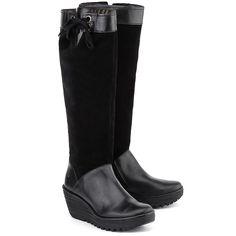 FLY LONDON Yafe - Czarne Zamszowe Kozaki Damskie   #mivo #mivoshoes #shoes #buty #kozaki #boots #shopping #new #collection #newcollection #fall #winter #fallwinter #2015 #2016 #fashion #style #stylish #black #leather