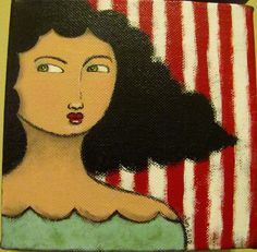 Arianna the pisces girl, contemporary folk art painting by Amber Leilani Middleton Pisces Girl, Whiskers On Kittens, Fauvism, Journalling, Acrylic Art, Naive, Female Art, Painting & Drawing, Amazing Art