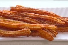 Churros from the airfryer? - Much less fat than fried churros! It is not even that long ago that churros captured the hearts of - Churros, Gourmet Recipes, Cooking Recipes, Healthy Recipes, Fruit Recipes, Croissants, Fingers Food, Tapas, Air Fryer Healthy