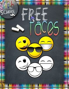 {FREE} EMOJI FACES {From Sketch to School Clipart}                              …