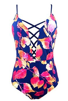 4d2b203829 One Piece Swimwear Front Strappy Cross Women s Swimsuit Floral Print Bathing  Suit