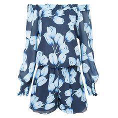 Macaquinho ombro a ombro Lale tulipas - azul