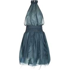 BOHEMIAN SOCIETY parachute halter dress (1,735 BAM) ❤ liked on Polyvore featuring dresses, vestido, blue fit-and-flare dresses, blue dress, full flared skirt, halter dress and blue halter neck dress