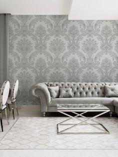This stunning Amara Damask wallpaper will bring a touch of style and elegance to your home. The design features an intricate embossed damask pattern in a pale silver tone on a lightly textured silver background, with a beautiful soft sheen finish to catch the light. Easy to apply, this high quality vinyl wallpaper would look great as a feature wall or equally good when used to decorate a whole room. Damask Wallpaper, Paper Wallpaper, Vinyl Wallpaper, Family Wall Decor, Lounge, Couch, Colours, Bedroom, Easy